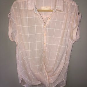 Anthropologie Gauze Short Sleeved Cross-Button Top
